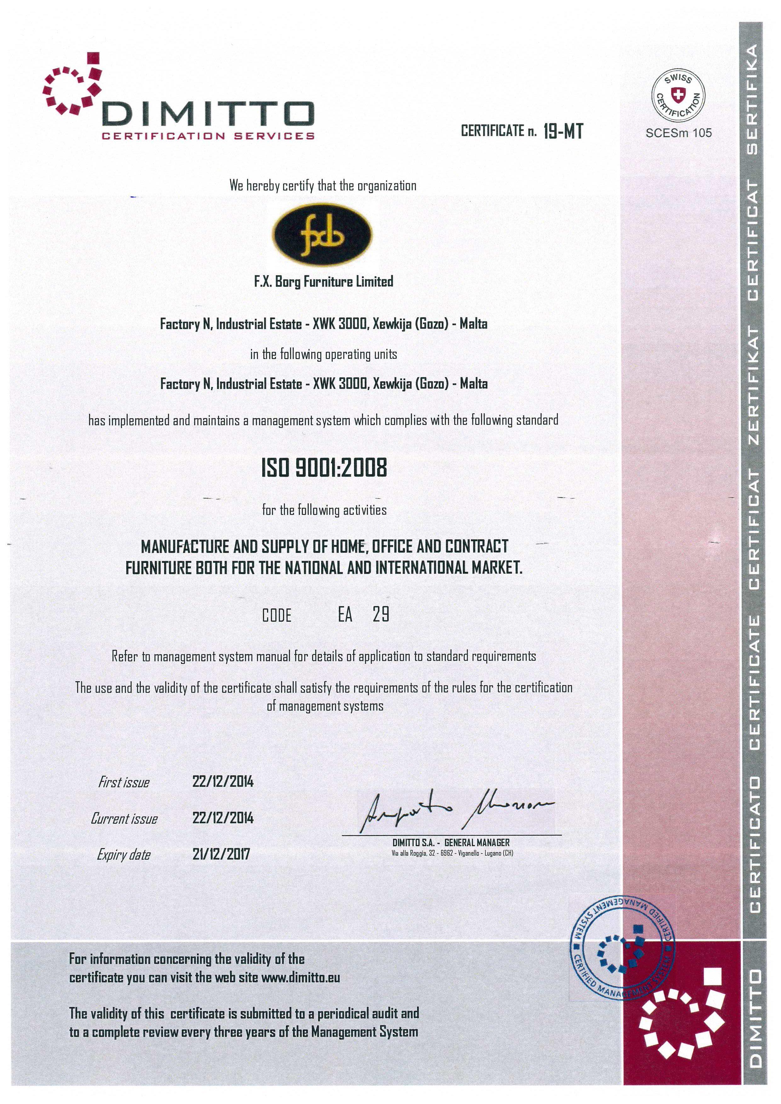 Manufacturing fxb certification msa en iso 9001 2008 xflitez Choice Image